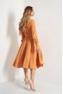 Rozkloszowana Midi Sukienka z Kopertowym Dekoltem - Kamelowa