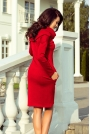 Sukienka Dopasowana z Obfitym Golfem Czerwona