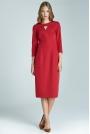 Czerwona Wizytowa Sukienka Midi z Pęknięciem przy Dekolcie