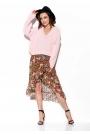 Oversizowy Sweter z Dekoltem V - Różowy