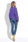 Fioletowy Krótki Sweter bez Zapięcia z Grubszym Splotem