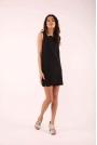 Czarna Krótka Sukienka bez Rękawów z Koronkowymi Wstawkami