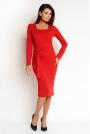 Czerwona Elegancka Sukienka z Dekoltem Cargo z długim Rękawem