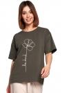 Luźny T-shirt z Nadrukiem -  Zielona