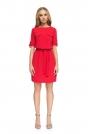 Czerwona Codzienna Sukienka z Kieszeniami i Paskiem