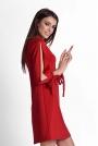 Czerwona Trapezowa Sukienka z Rozciętymi Rękawami