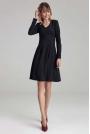 Trapezowa Sukienka z Długim Rękawem - Czarna