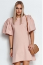 Krótka Trapezowa Sukienka z Motylkowym Rękawem - Różowa