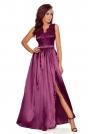 Śliwkowa Wizytowa Długa Sukienka z Koroną