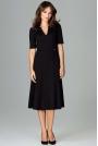 Czarna Koktajlowa Sukienka Midi z Wycięciem V przy Dekolcie
