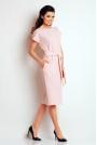 Jasno Różowa Prosta Midi Sukienka z Wiązanym Paskiem