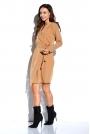 Kamelowa Kopertowa Sukienka Wiązana w Pasie