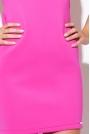 Różowa Prosta Dopasowana Sukienka bez Rękawów