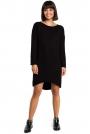 Czarna Asymetryczna Swetrowa Sukienka z Dekoltem w Łódkę