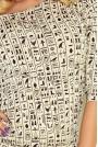 Beżowa Sukienka Ściągana w Egipskie Znaki