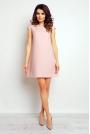 Różowa Trapezowa Elegancka Sukienka