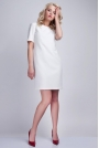 Biała Sukienka w Minimalistycznym Stylu z Dekoltem na Plecach
