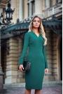 Zielona Dopasowana Wizytowa Sukienka z Siateczkowym Rękawem