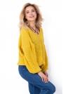 Żółty Oversizowy Sweter z Ozdobnym Splotem