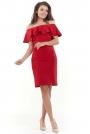Czerwona Wizytowa Sukienka Carmen z Falbanką