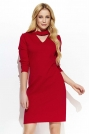 Czerwona Elegancka Sukienka z Niebanalną Stójką