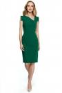Zielona Dopasowana Sukienka z Asymetrycznym Dekoltem