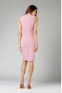 Jasnoróżowa Ołówkowa Sukienka z Kokardą