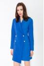 Niebieska Elegancka Sukienka Smokingowa Zapinana na Guziki