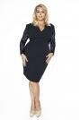 Czarna Koronkowa Sukienka Kopertowy Dekolt Plus Size