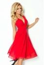 Czerwona Sukienka Wieczorowa z Szyfonu z Dekoltem V