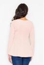Różowa Bluzka z Rozkloszowanym Dłuższym Tyłem
