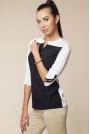 Dwubarwna Bluzka z Suwakami na Rękawach - Czarny&biały