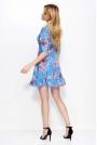 Niebieska Sukienka w Kwiaty z Głębokim Dekoltem