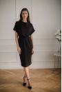 Czarna Sukienka Midi z Krótkim Kimonowym Rękawem