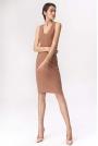 Karmelowa Klasyczna Dopasowana Sukienka z Ozdobnym Suwakiem