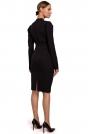 Czarna Ołówkowa Sukienka z Marszczeniem na Spódnicy