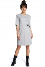 Szara Minimalistyczna Sukienka O Linii A z Ozdobną Klamrą