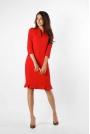Czerwona Ołówkowa Sukienka z Ciekawym Dołem