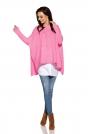 Asymetryczny Różowy Sweter Ponczo z Warkoczem
