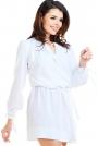 Biała Sukienka w Stylu Boho z Biżuteryjna Ozdobą