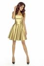 Złota Imprezowa Gorsetowa Sukienka z Rozkloszowanym Dołem