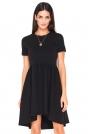 Czarna Asymetryczna Sukienka z Krótkim Rękawem