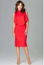 Czerwona Wizytowa Dopasowana Sukienka Midi z Peleryną