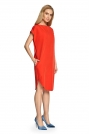 Czerwona Sukienka o Prostym Kroju z Szerokim Rękawkiem