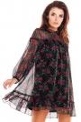 Luźna Mini Sukienka z Wzorzystego Szyfonu z Falbankami - Wzór 1