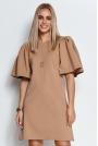 Krótka Trapezowa Sukienka z Motylkowym Rękawem - Beżowa