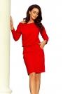 Czerwona Codzienna Zbluzowana Sukienka z Dekoltem na Plecach