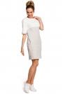 Jasnoszara Biała Dwubarwna Krótka Sukienka z Kieszeniami