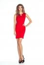 Czerwona Ołówkowa Mini Sukienka z Klamerką