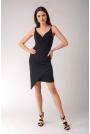 Czarna Asymetryczna Sukienka z Dekoltem V na Cienkich Ramiączkach